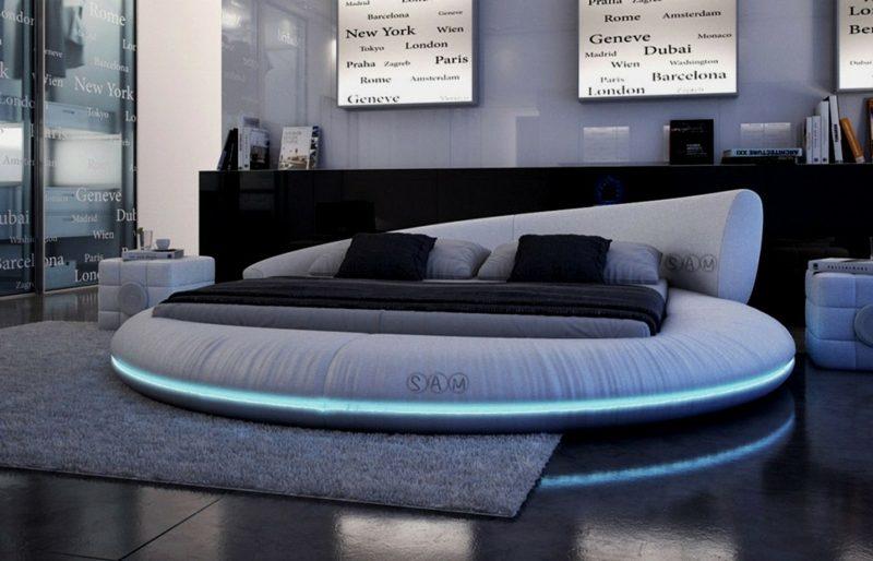 rundes Bett mit LED Leuchten modern