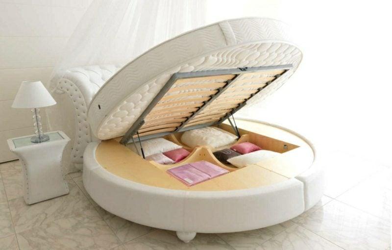 rundes Bett Modell praktisch Bettkasten