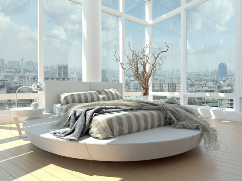 rundes Bett Matratze rechteckig moderner Look