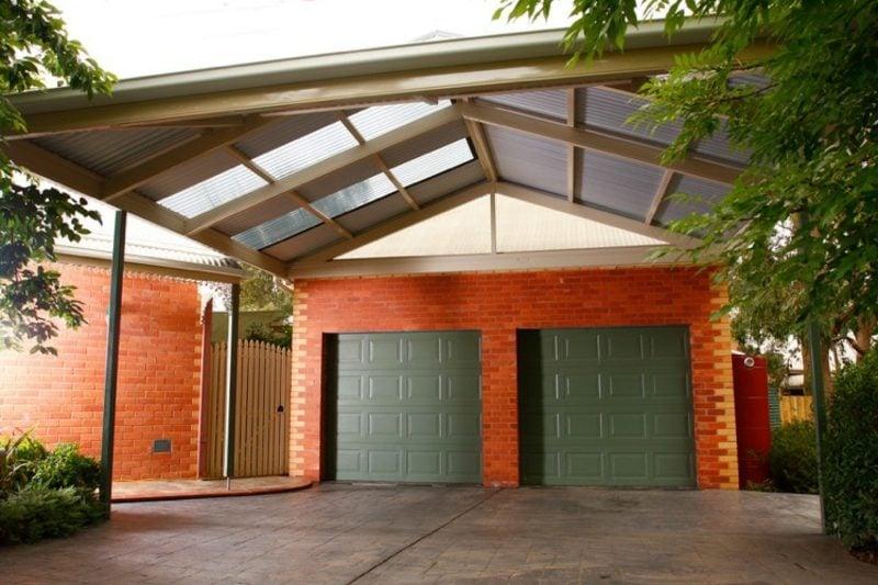 Carport selber bauen Satteldach zwei Autos