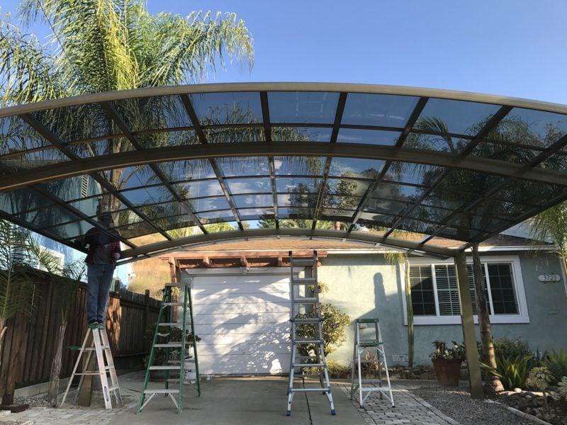Carport selber bauen modernes Glasdach