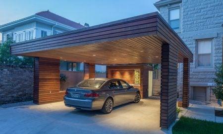 Carport selber bauen modern aus Holz