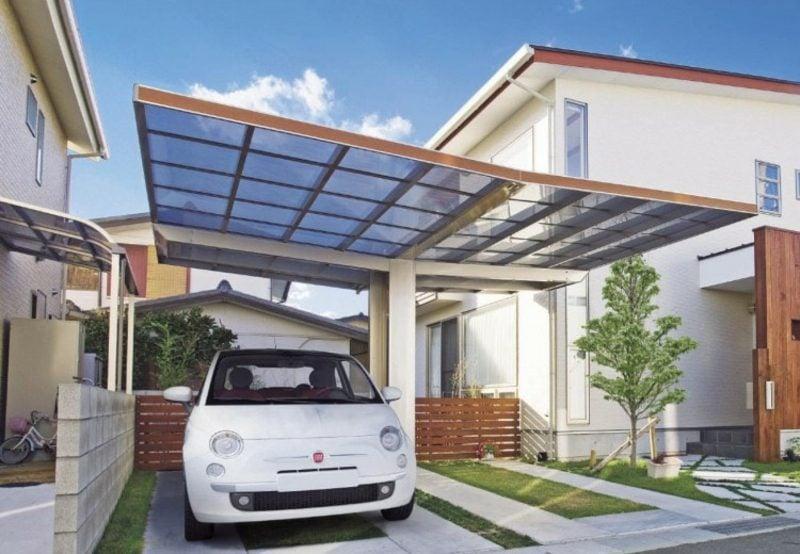 Carport selber bauen Glasdach zwei Autos