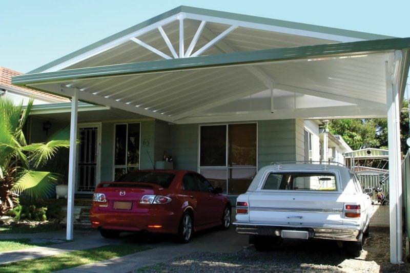 Carport selber bauen zwei Autos Holzdach