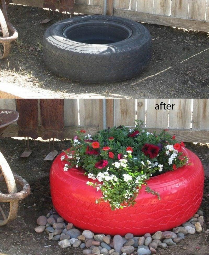 Gartenideen für wenig Geld Autoreifen Blumentopf