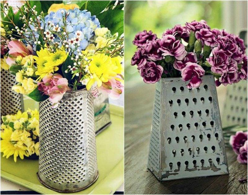 Ausgefallene Gartendeko selber machen Vase aus Reibeisen