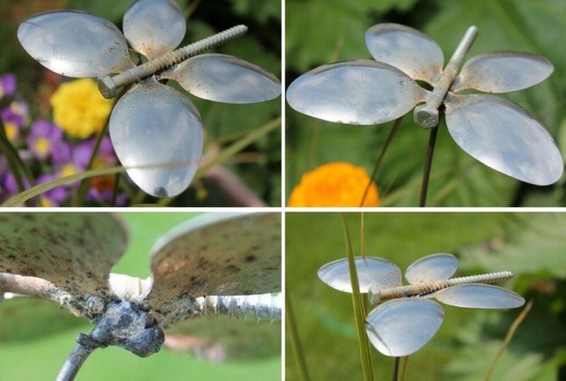 Ausgefallene Gartendeko selber machen aus Besteck