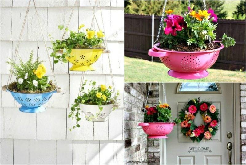 Ausgefallene Gartendeko selber machen Blumenampel