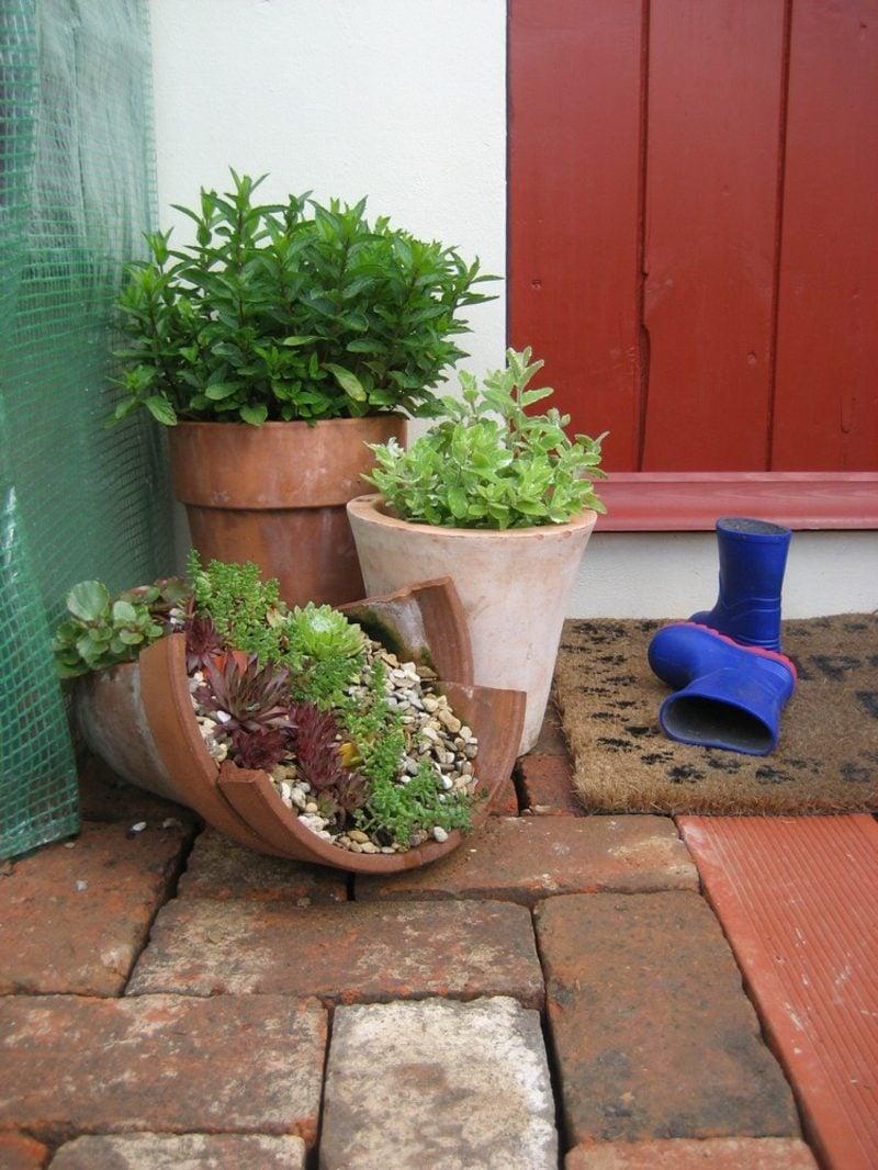 Gartenideen für wenig Geld Blumentopf kaputt bepflanzen