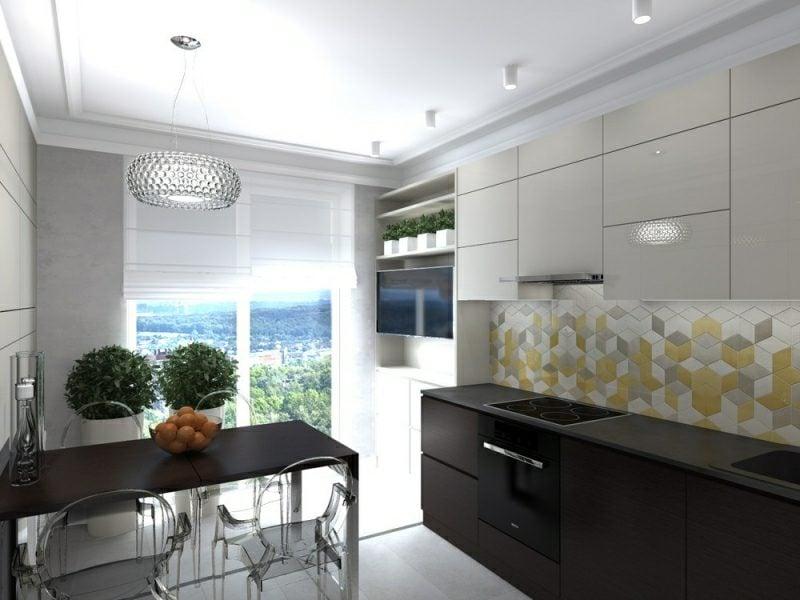 kleine Küchen Spritzschutz Akzentfliesen geometrisch