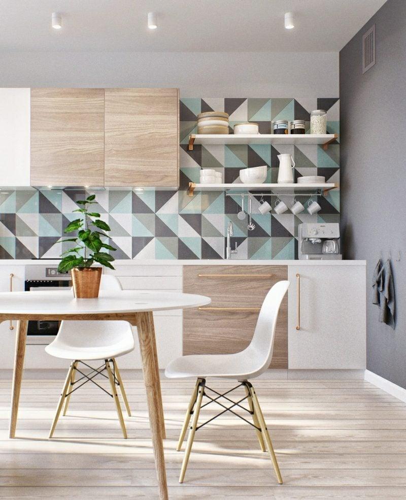 kleine Küchen einrichten Akzentfliesen Dreiecke
