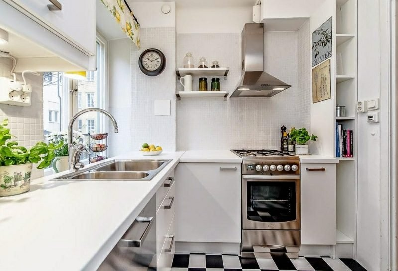 kleine Küchen einrichten Ideen in Retro Stil