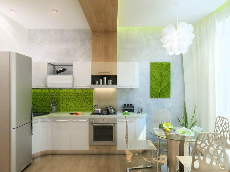 kleine Küchen einrichten Spritzschutz Zellenmuster
