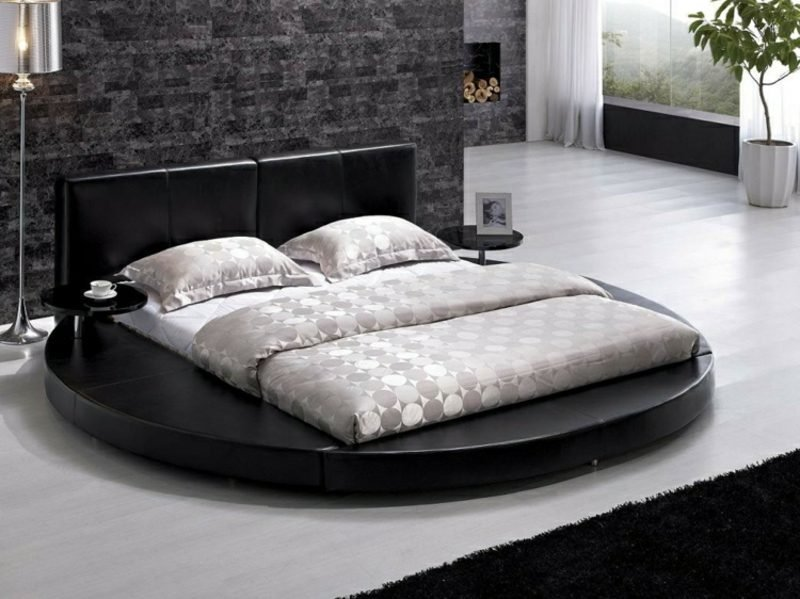 rundes Bett rechteckige Matratze moderner Look