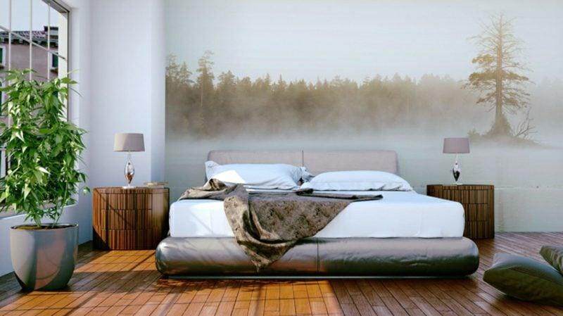 Fototapete Wald im Nebel romantisch Schlafzimmer