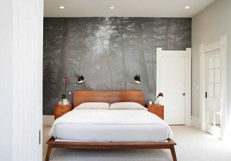 Fototapete Wald Landschaft in Grau Schlafzimmer