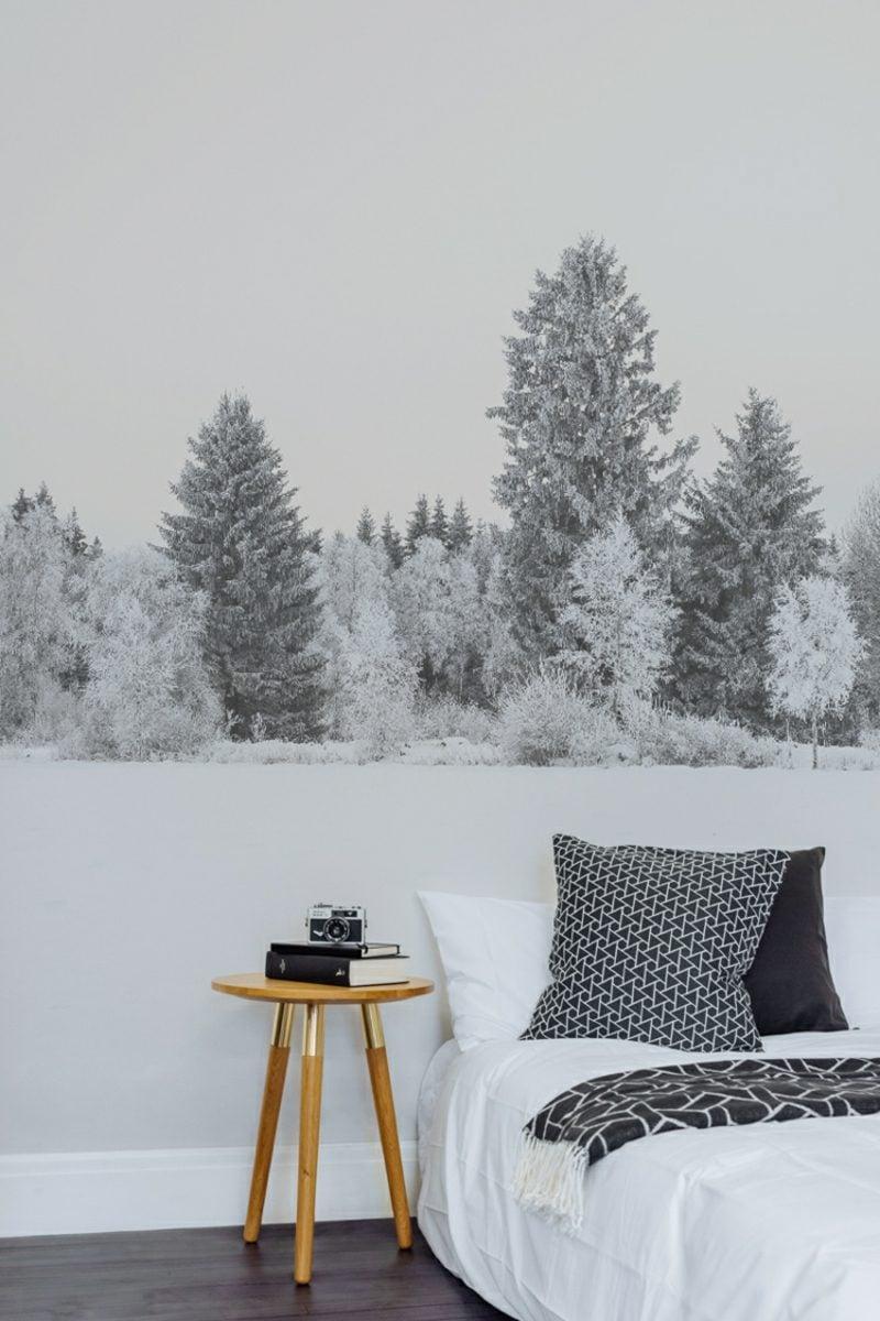 Fototapete Wald im Winter schwarz weiss