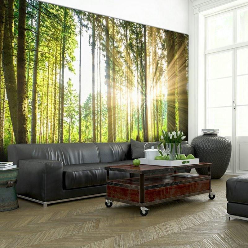Fototapete Wald Wohnzimmer romantischer Look