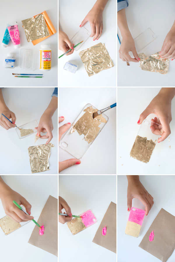 DIY Handy Cover mit Gold Folie