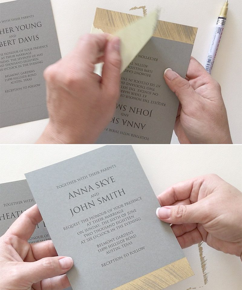 DIY Ausgefallene Hochzeitseinladungen aufpeppen: einen goldenen Touch verleihen