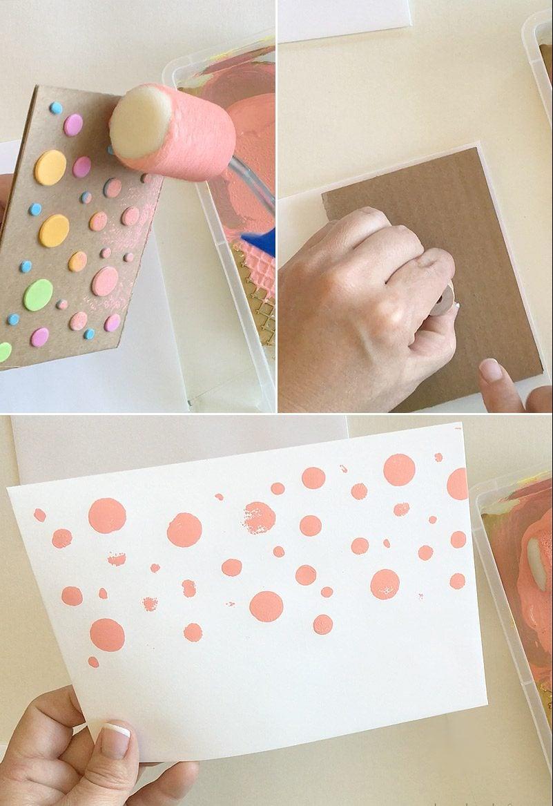 Briefumschlag und Hochzeitskarte basteln: ein gepunkteter Muster machen