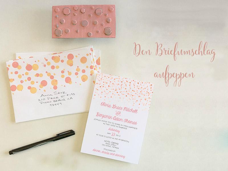 Anleitung №3: Einen gepunktetenBriefumschlag für die Hochzeitskarte basteln