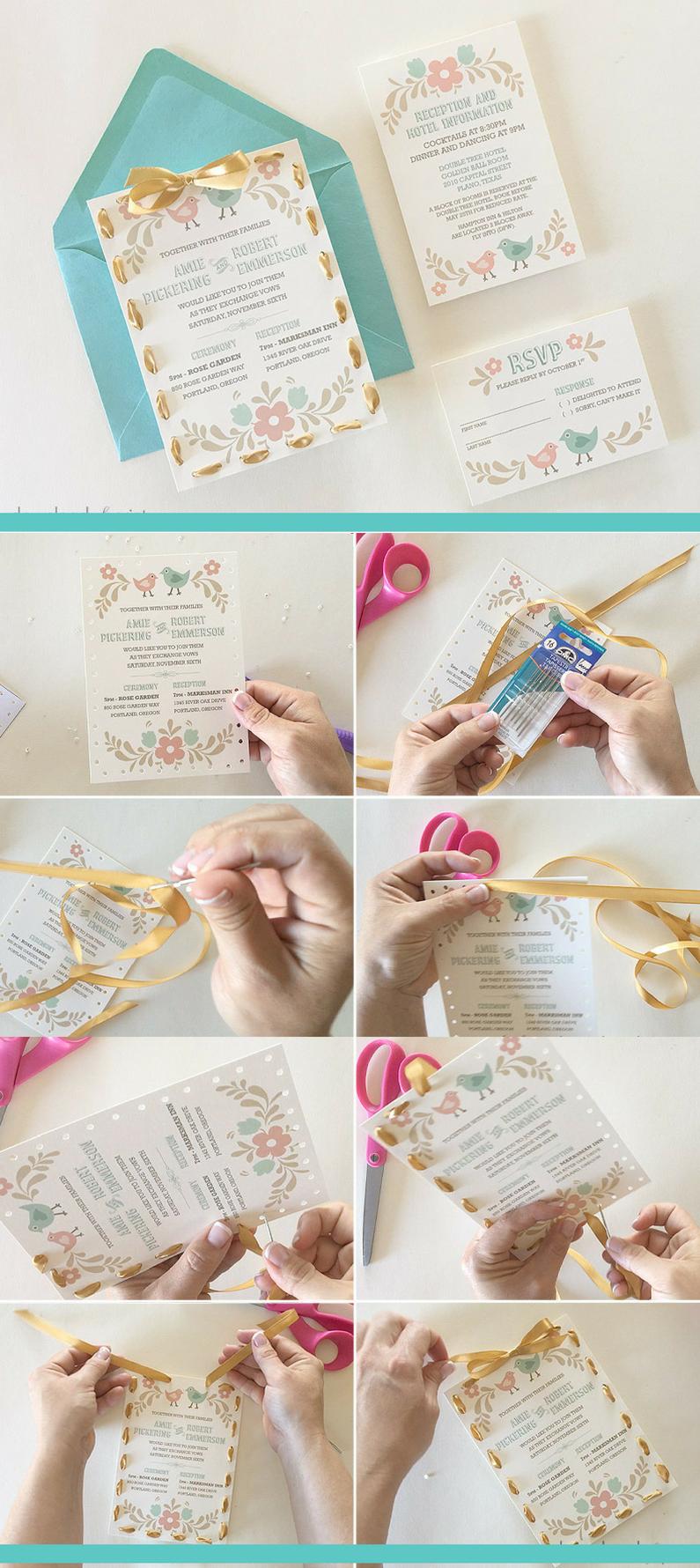 DIY Idee für Hochzeitskarte basteln: Geben Sie der Hochzeitskarte den letzten Schliff mit einem schönen Band