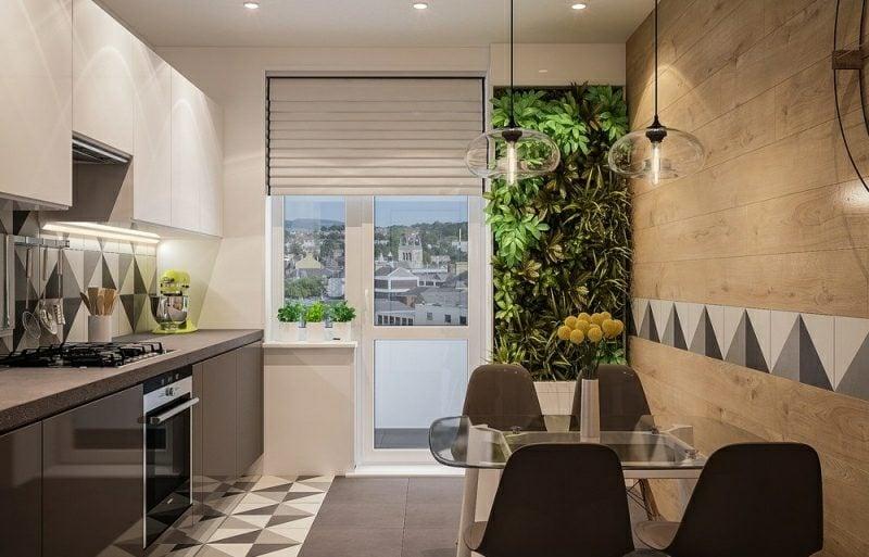 kleine Küchen einrichten Akzentfliesen puristisch