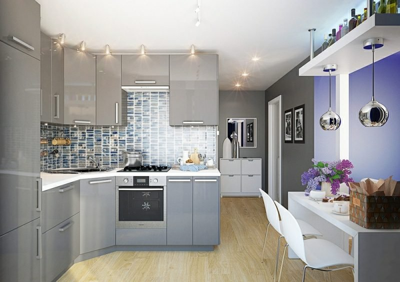 kleine Küchen einrichten Akzentleuchten Fliesenspiegel