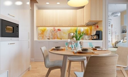 kleine Küchen einrichten Spritzschutz aus Glas