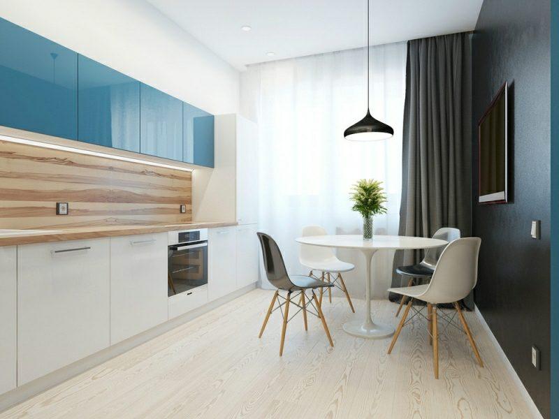 kleine Küchen einrichten blaue Akzente stilvoll