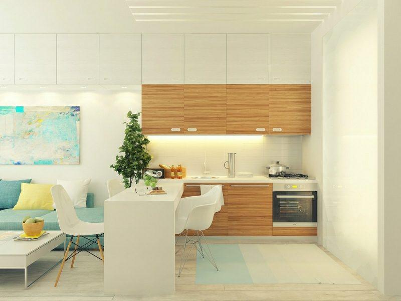 kleine Küchen Gestaltungstipps moderne Holzfronten