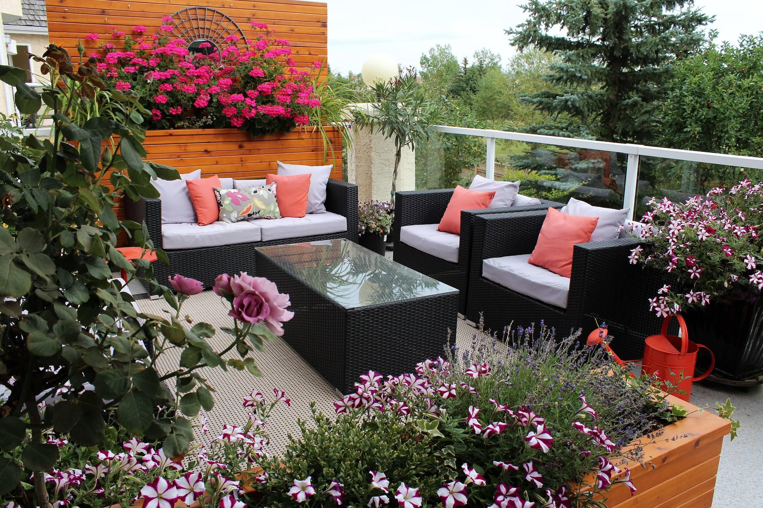 Moderne Terrassengestaltung mit vielen Blumen und Pflanzen