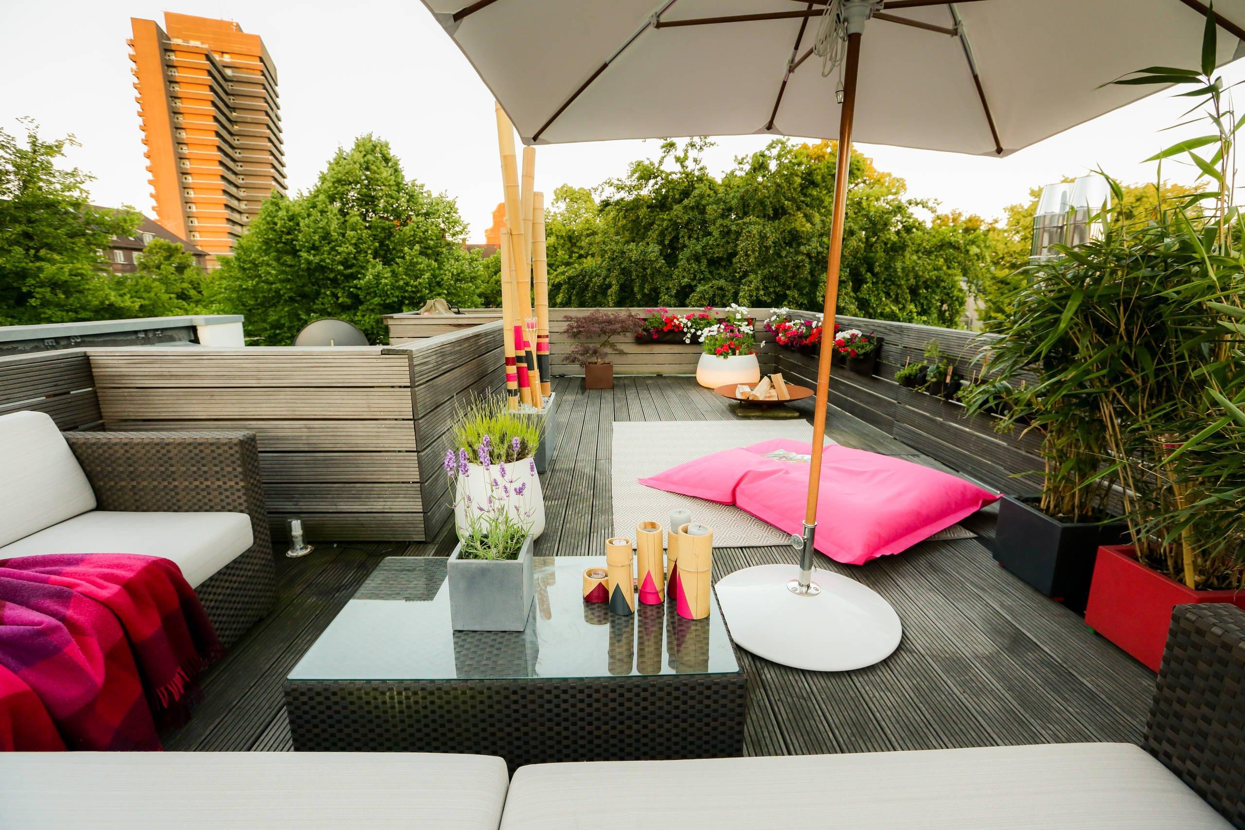 Moderne Terrassengestaltung mit Bambus