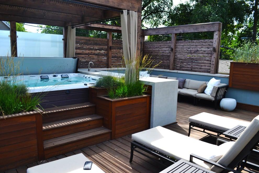 Dach Terrassen Ideen mit Whirlpool