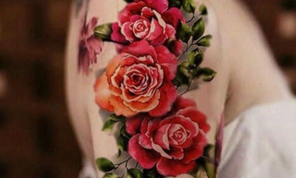 50 ideen f r rosen tattoo das symbol der wahren liebe tattoos zenideen. Black Bedroom Furniture Sets. Home Design Ideas