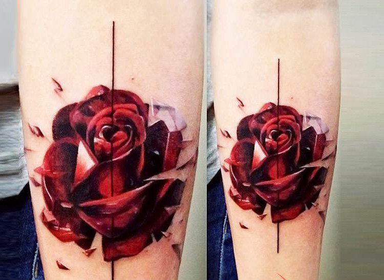 Rote Rosen Tattoo Vorlagen für Männer und Frauen