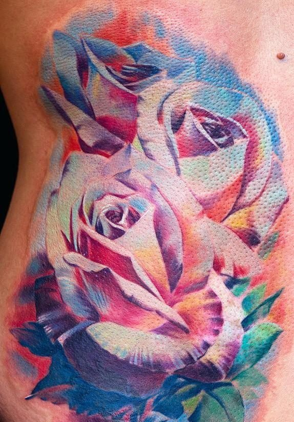 Bunte Rosen Tattoo Vorlage
