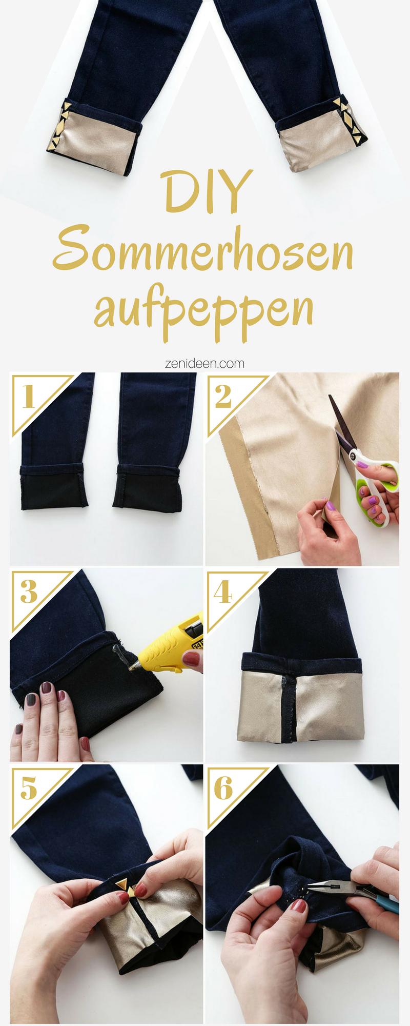 DIY goldene Sommerhosen aus Denim