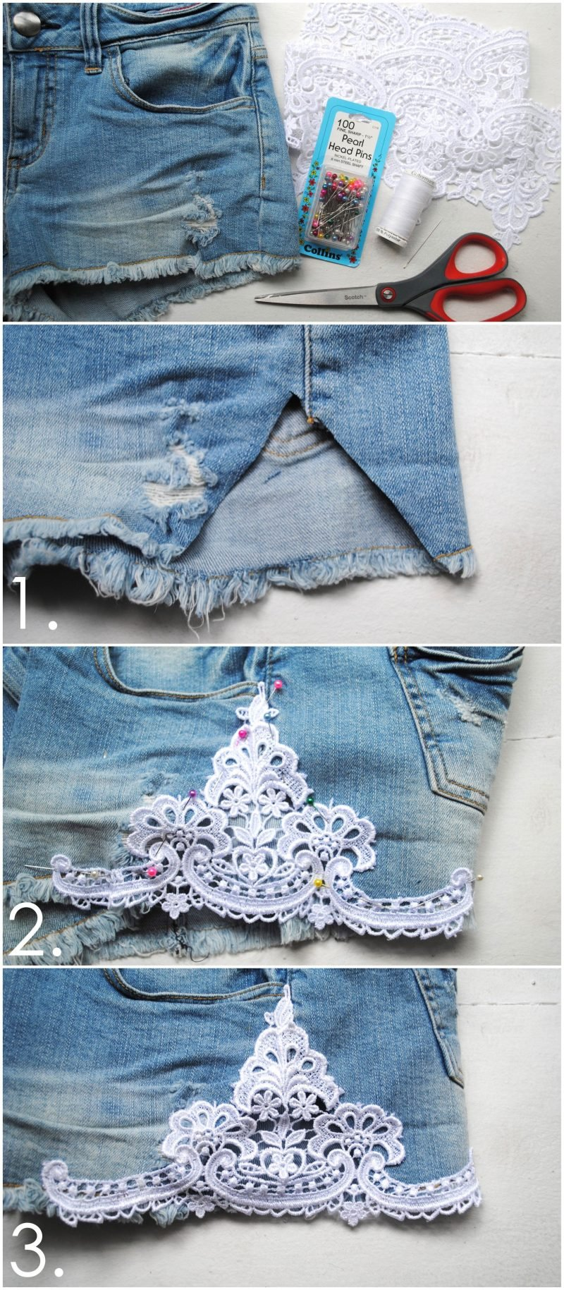 Kurze Sommerhosen aus langen Jeans