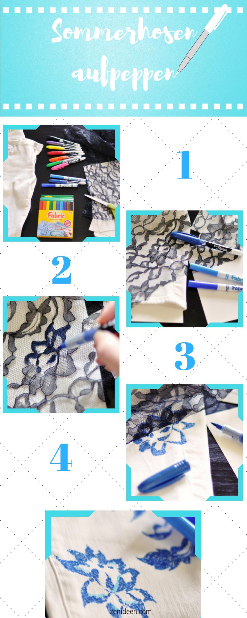 DIY Anleitung für leichte Sommerhose mit Blumendesign