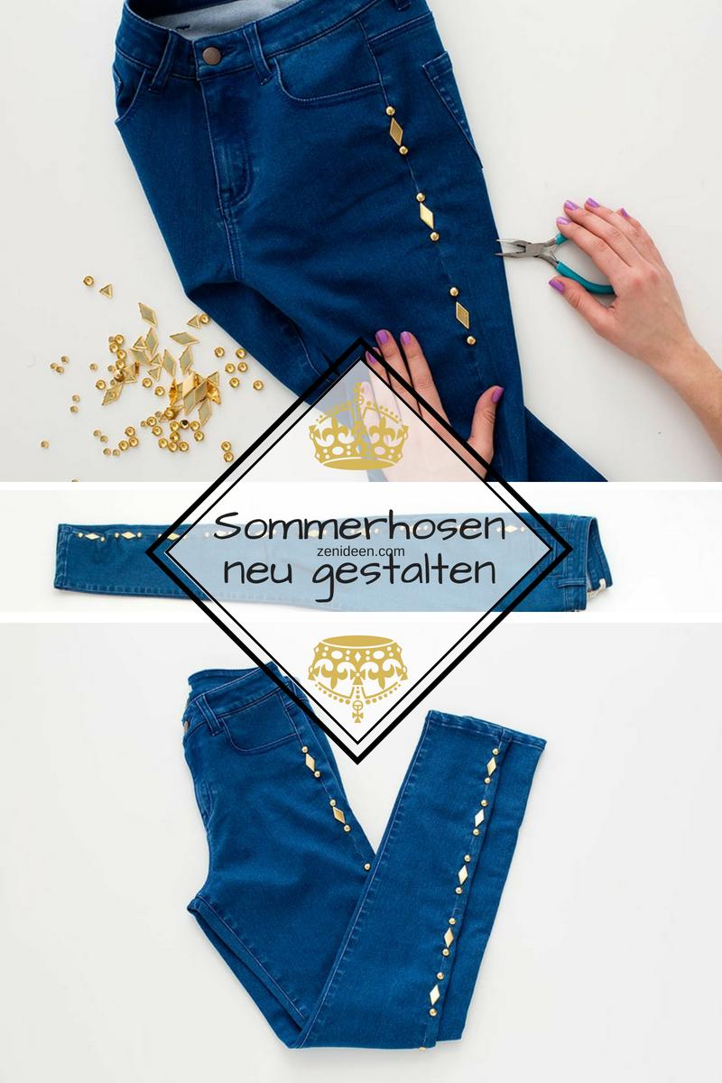DIY leichte Sommerhose aus Denim mit Nieten