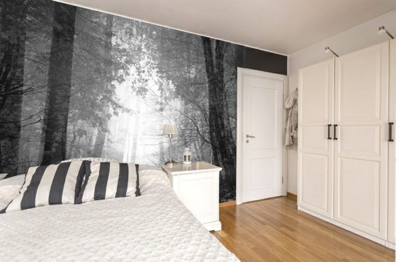 Fototapete Wald grau Schlafzimmer eleganter Look