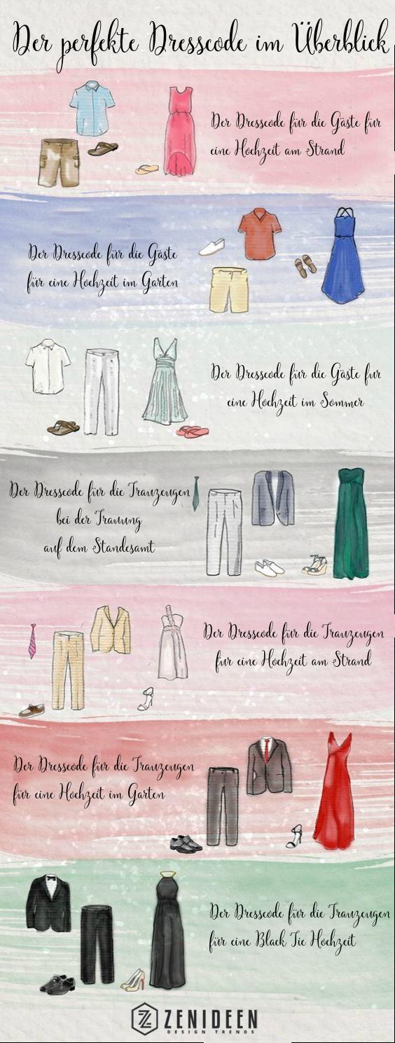 Allgemeingültige Kleidungsvorschriften für die Hochzeit