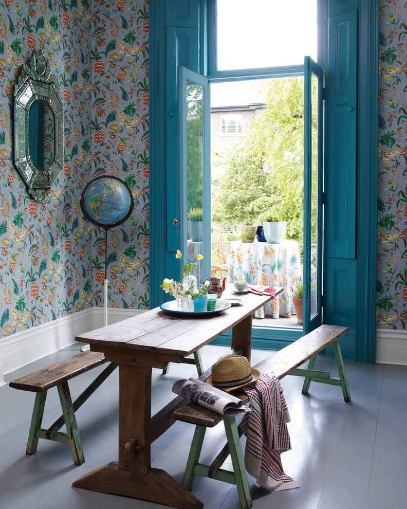 Wohnzimmer Tapeten florale Motive