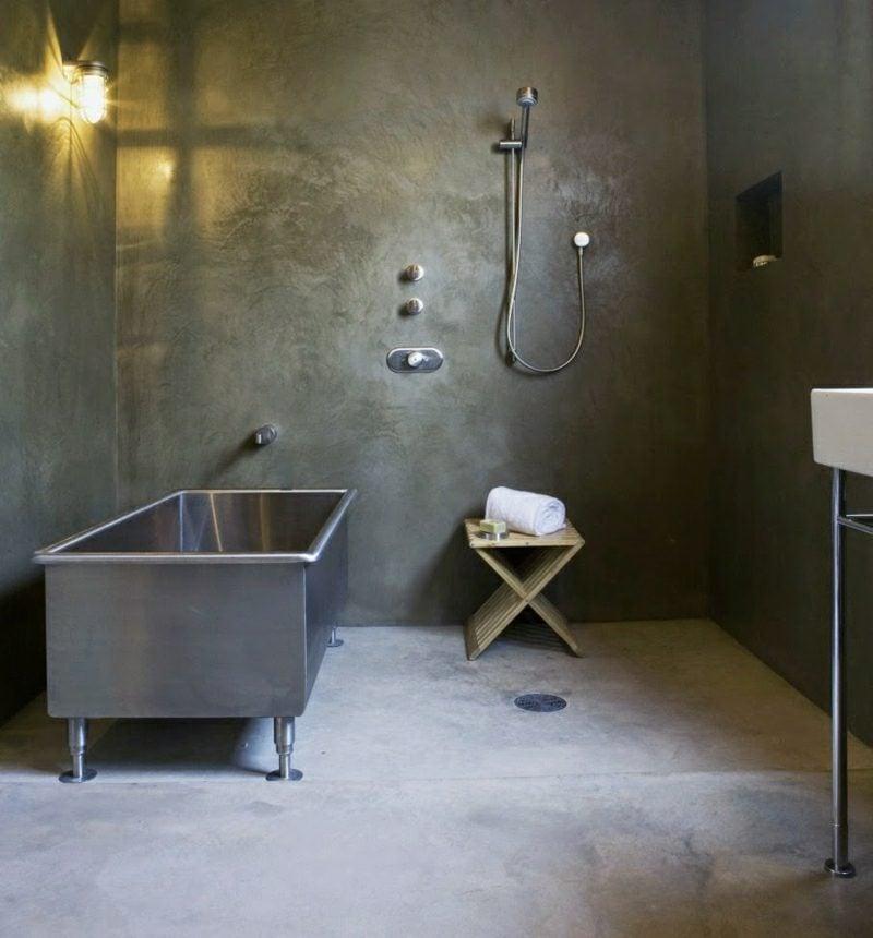 Bad ohne Fliesen raue Betonoptik