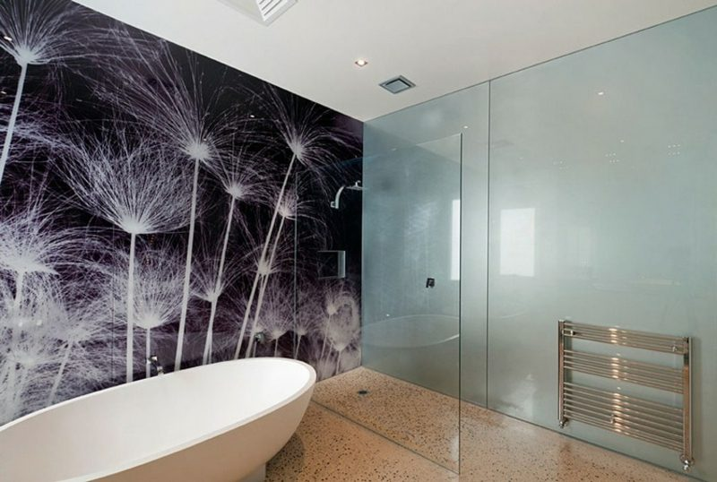 Bad ohne Fliesen Glaspaneele Pusteblumen
