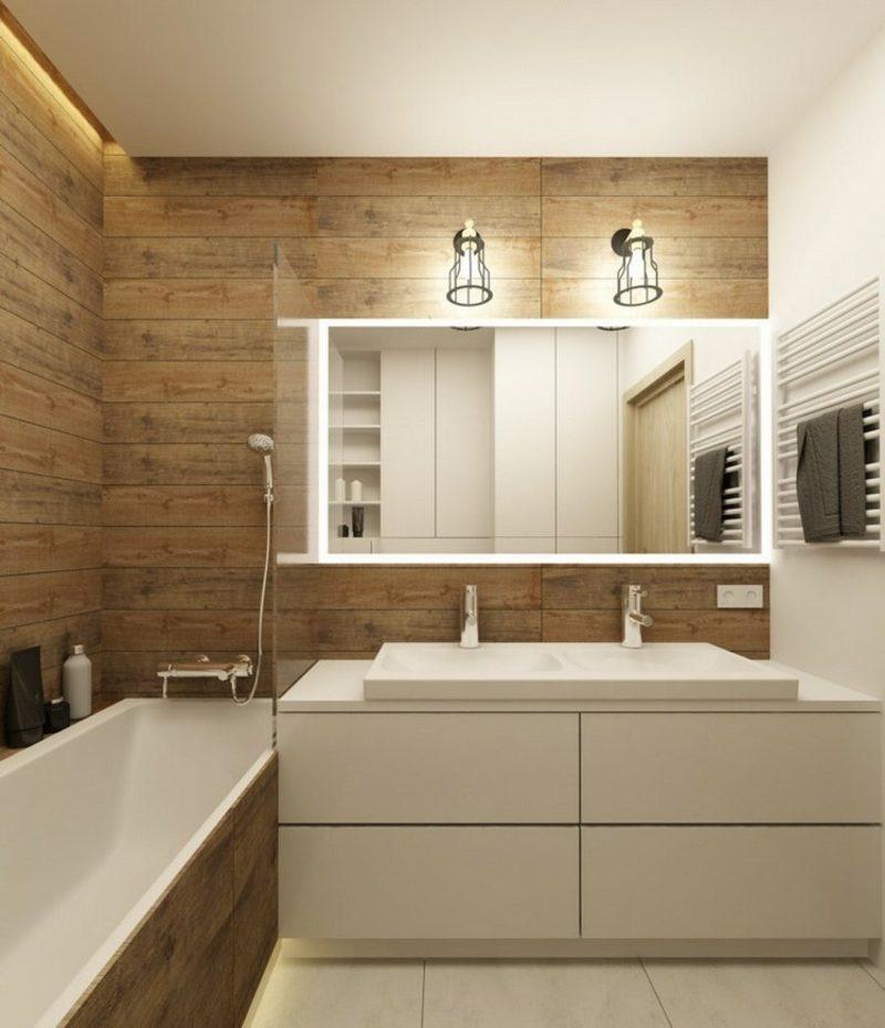 Bad ohne Fliesen Holzverkleidung
