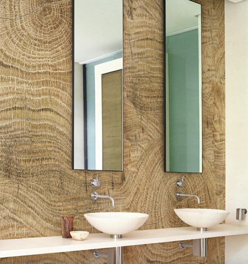 Bad ohne Fliesen Tapeten Holzoptik