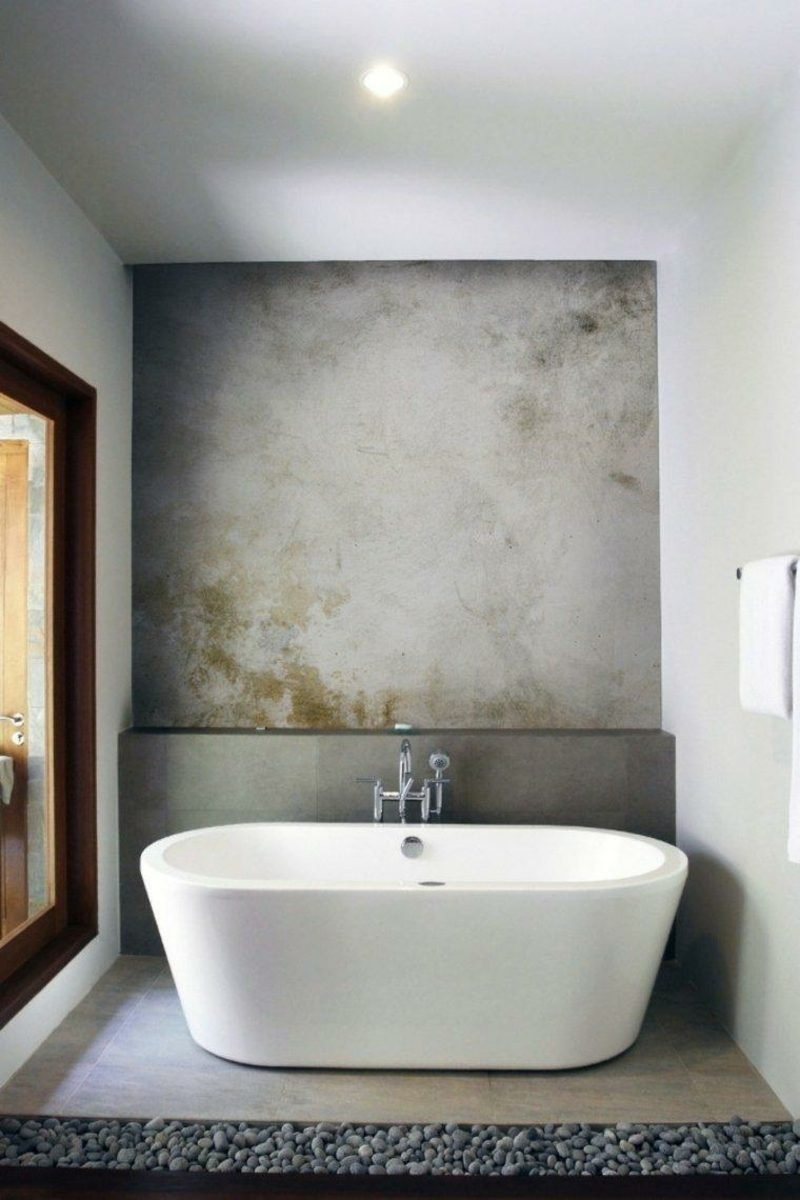 Bad ohne Fliesen Betonwand